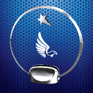 Clear round trophy with eagle and star with silver base