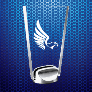 Trapezoid-shaped clear trophy with eagle etching