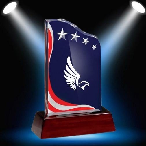 Award in blue, red, and white with stars and eagle