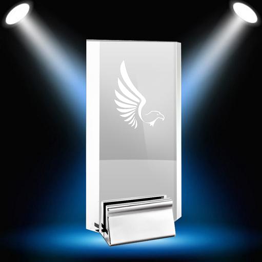 Chrome Rectangle award with eagle spotlight