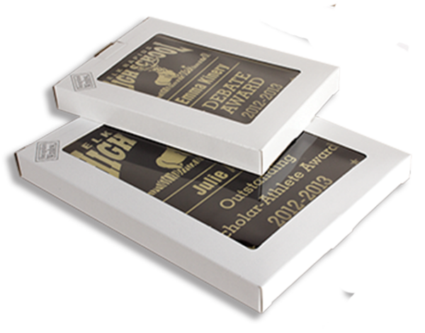 plaque boxes with trophies