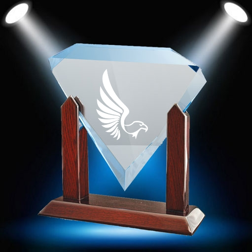 Wooden base with diamond-shaped trophy