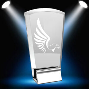 Chrome rectangle award with spotlights and eagle decal