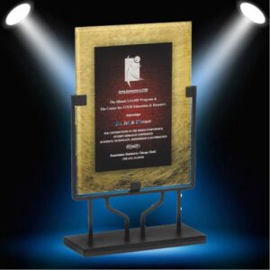Gold award with red background