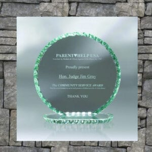 green-edged glass trophy with etching