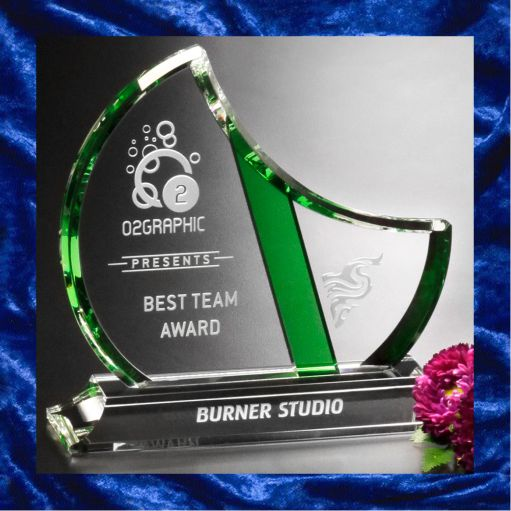Glass trophy with crescent moon and green stripe