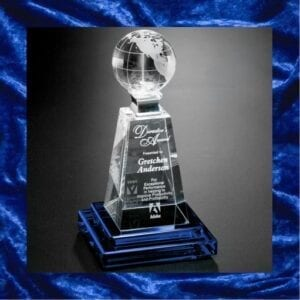 Blue trophy base with glass middle and globe top