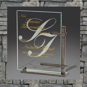 Metal frame with crystal award and text
