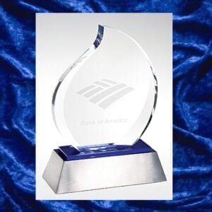 glass asymmetrical trophy with silver and blue base