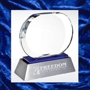 silver trophy oval glass trophy