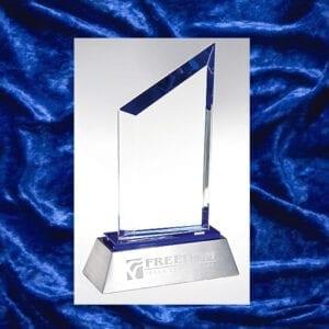 Silver base with asymmetrical cut award