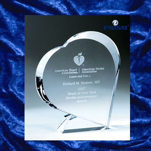 Heart-shaped glass trophy award