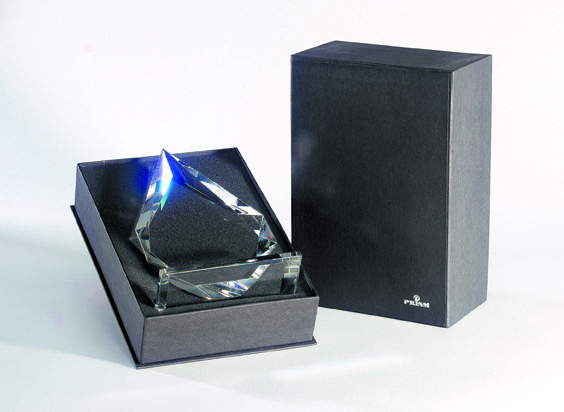 Grey Deluxe presentation box with teardrop-shaped trophy