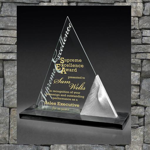 triangular acrylic award with text