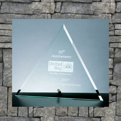 Triangle award with silver etching