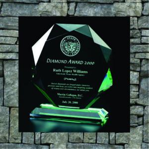 Green-tinged diamond shaped award
