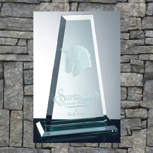 Trapezoid trophy with horse etching