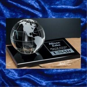 Galaxy Globe on Black Glass