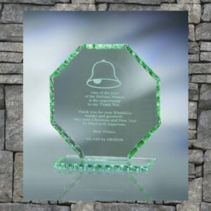Glass hexagon-shaped trophy