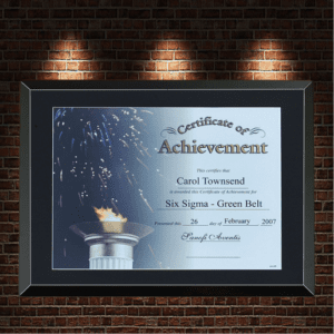 large black frame with certificate