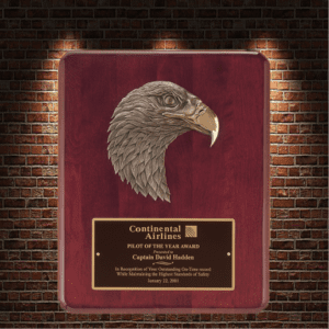 continental airlines plaque with eagle head
