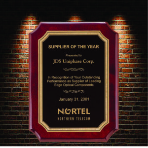 supplier of the year plaque