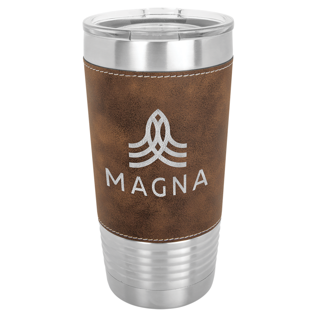 metal tumbler with brown leather holder