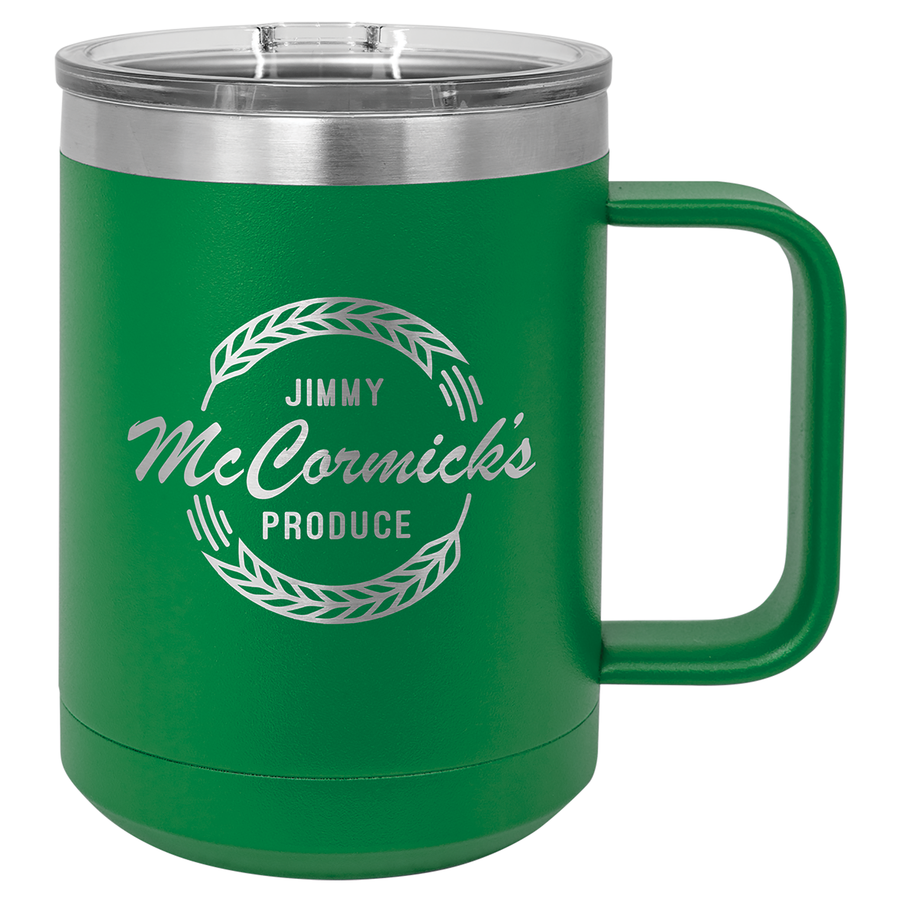 Mug tumbler in green with text on it