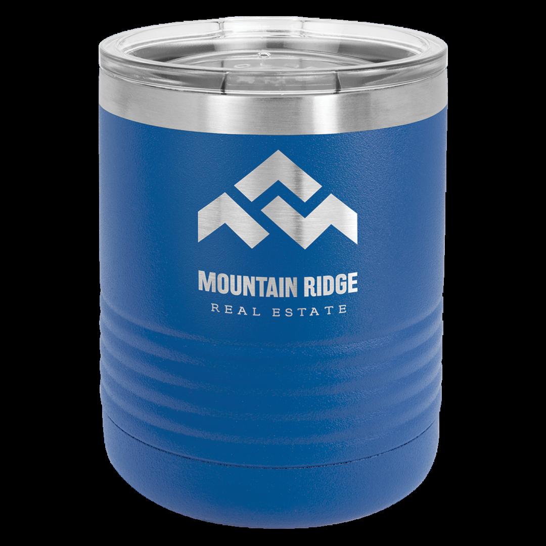 Blue metal tumbler with mountain ridge text