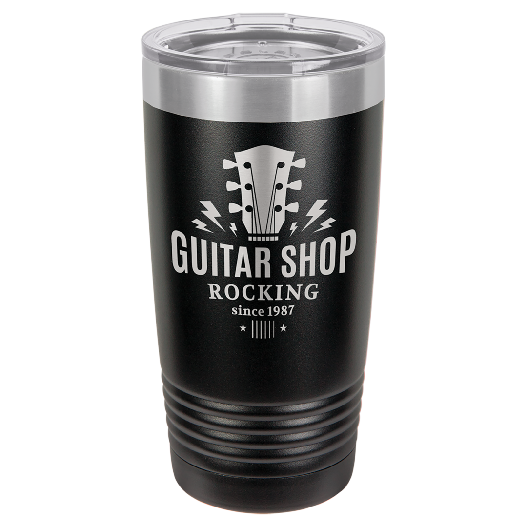 Black and metal tumbler with logo and design