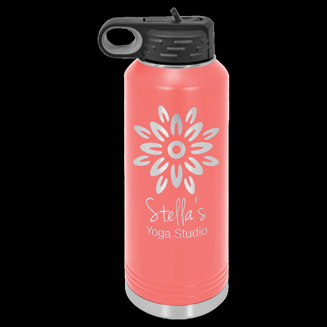 pink tumbler with flower engraving